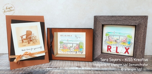 Easy Frame cards using Seaside view Stampin Up