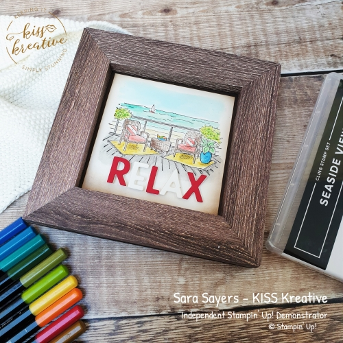 Easy Polaroid Frame Card using the Seaside View Stamp Set.