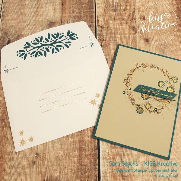 Beautiful Simple Christmas Card using the Ornamental Envelopes from Stampin Up