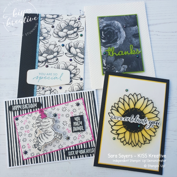 Simple Black and white cards with a pop of colour, using Tasteful textures, Zany Zebra's & Celebrate sunflowers