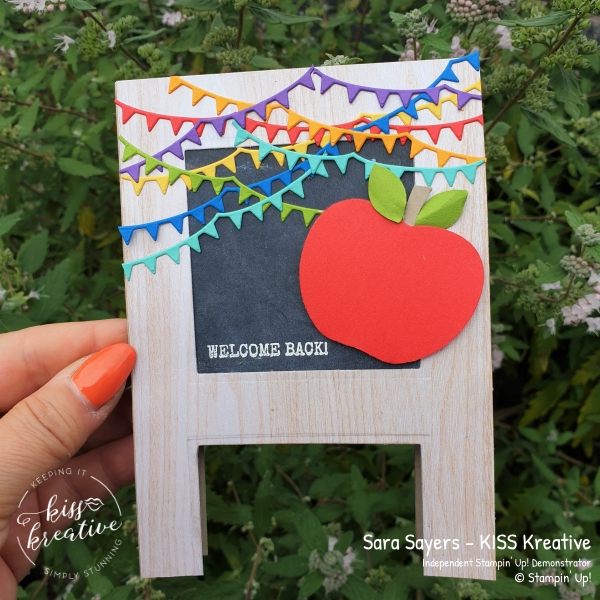 Easy Blackboard Easel back to school card using the Harvest Hellos and Happy Dies