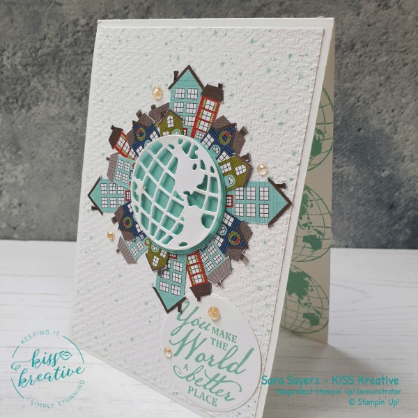Stunning card using the Trimming the Town Suite and Beautiful World Bundle  from Stampin' Up!