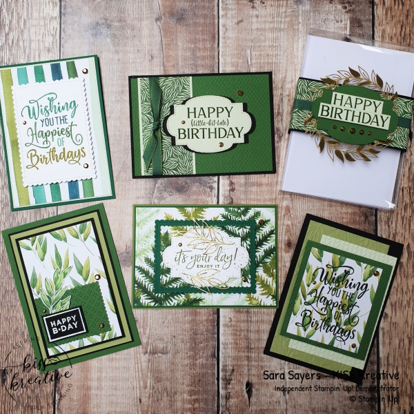 Happiest of birthday cards using the Forever Greenery DSP from Stampin Up