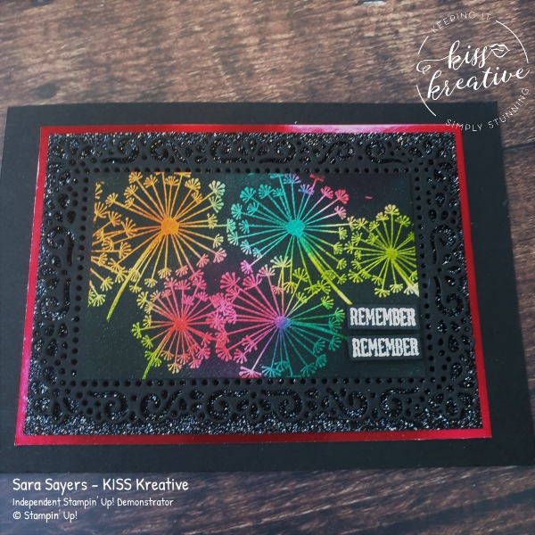 Firework Card using the Joseph's Coat Technique and Dandelion Wishes