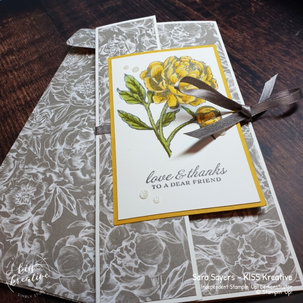 Stunning Peony Garden Tri fold Slim Line Cards with Prized Peony Bundle from Stampin Up