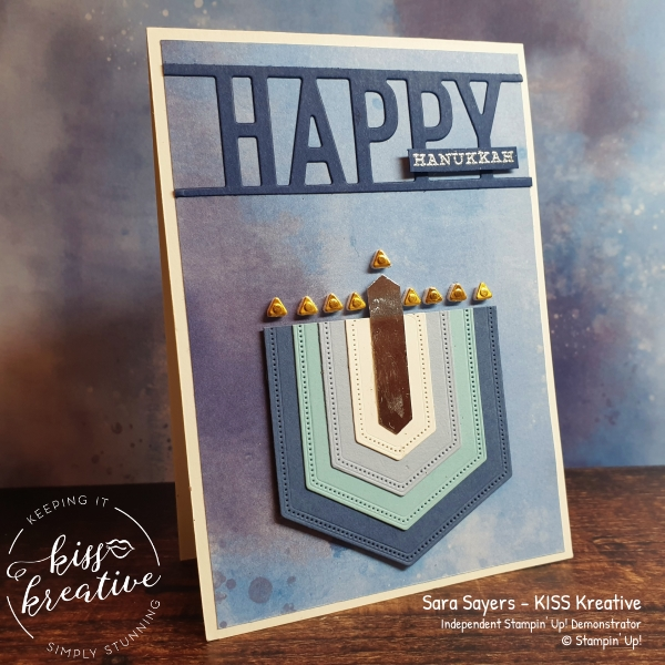 Easy Menorah Hannukah Card using Stitched Nested labels Dies from Stampin Up