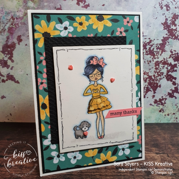 Hey Girlfriend thank you card using Stampin Blends by Stampin Up